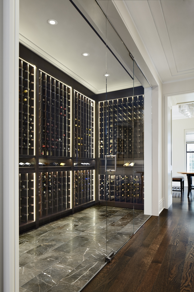 High End Palmolive Wine Room by Bovelli Custom Millwork